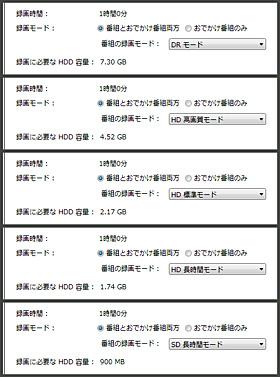 Giga Pocket Digital 録画モード比較