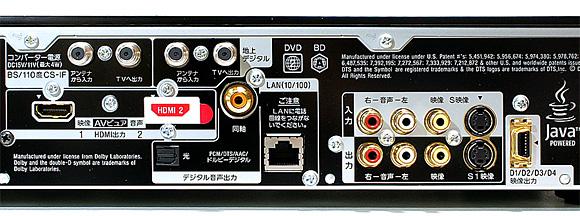 背面:ソニー ブルーレイディスクレコーダーBDZ-AX2000
