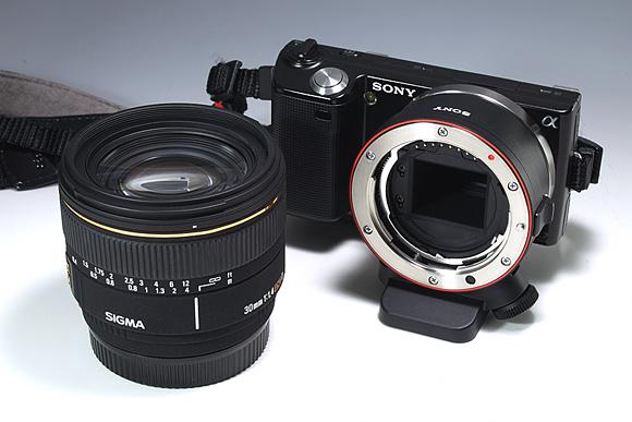 NEX-5+マウントアダプターLA-EA1とSIGMA 30mm F1.4 EX DC