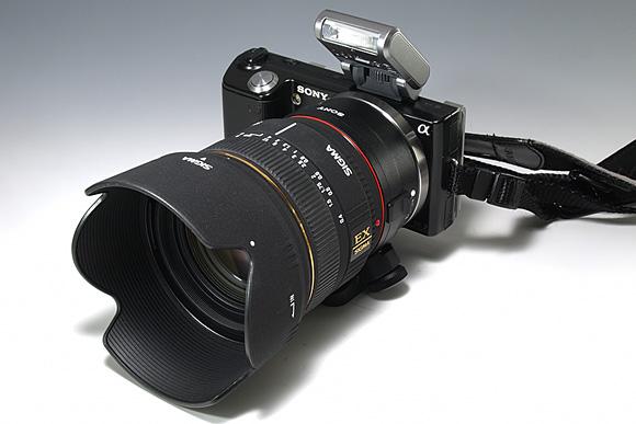 「NEX-5」+「マウントアダプターLA-EA1」+「SIGMA 30mm F1.4 EX DC」フル装備状態