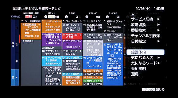 番組表のオプション:ソニー ブルーレイディスクレコーダーBDZ-AX2000