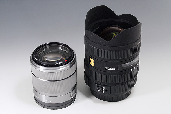 「SIGMA 8-16mm F4.5-5.6 DC HSM」と「SEL1855 E18-55mm F3.5-5.6 OSS」