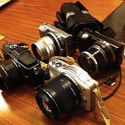 NEX-5、PEN E-P3、DMC-GF3、JVC GS-TD1