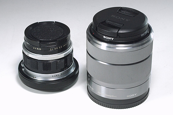 ペンF用レンズ F.Zuiko Auto-S f1.8 38m & 「SEL1855 E18-55mm F3.5-5.6 OSS